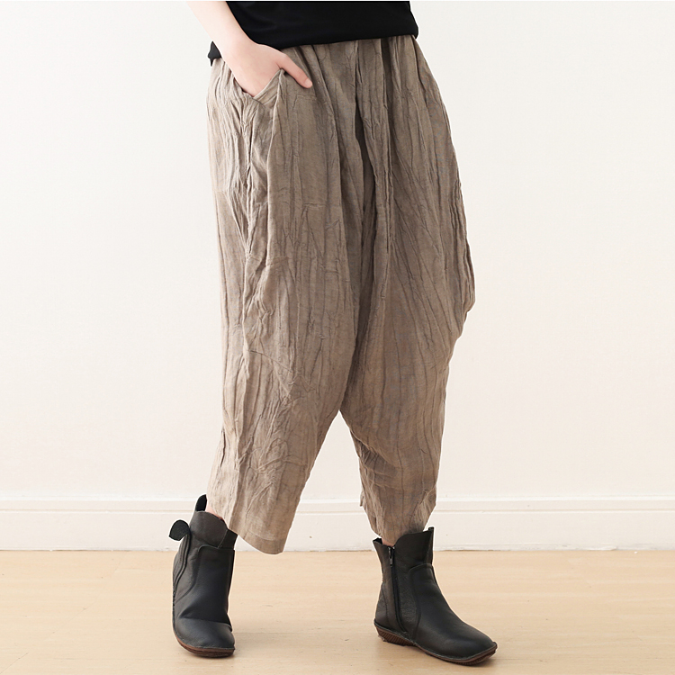 Johnature New Summer Ankle length Pants Casual Loose Elastic Waist Wide Leg Pants Solid Pleated Cotton