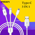 Pisen 3 em 1 tipo c cabo de dados original para iphone 6 s 7 7 além de huawei mate 9 oneplus 3 a520f tipo c + luz + micor usb sansung