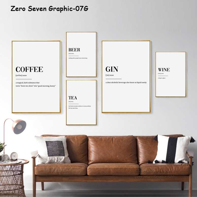 Canvas Painting Simple Tea Wine Coffee Word Poster And Print Bar Restaurant Wall Art Picture Home Decoration