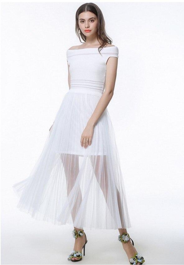 Section Sans Noir Pcs Bretelles Sexy Femmes Longue D'été De Nouvelles blanc Robe 10 Printemps Col Tricot Et Mince Net Fil En 2018 UpGjzLqSMV
