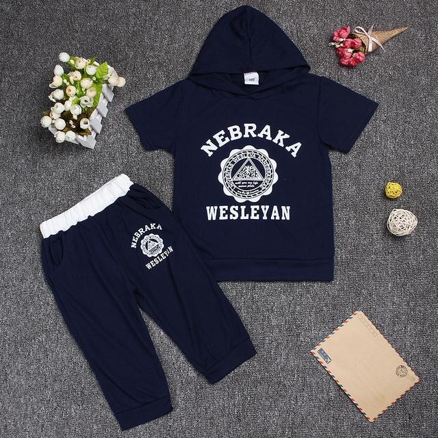 Hot New 2017 summer girls boys letter print children clothing set baby clothes short-sleeve T-shirt hoodies pant kids sport suit