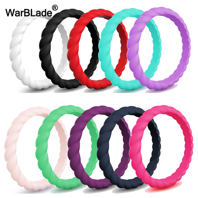 3mm Thin Braided Silicone Ring Fashion Sports Hypoallergenic Crossfit Flexible Woven Rubber Finger Ring For Women Wedding Rings