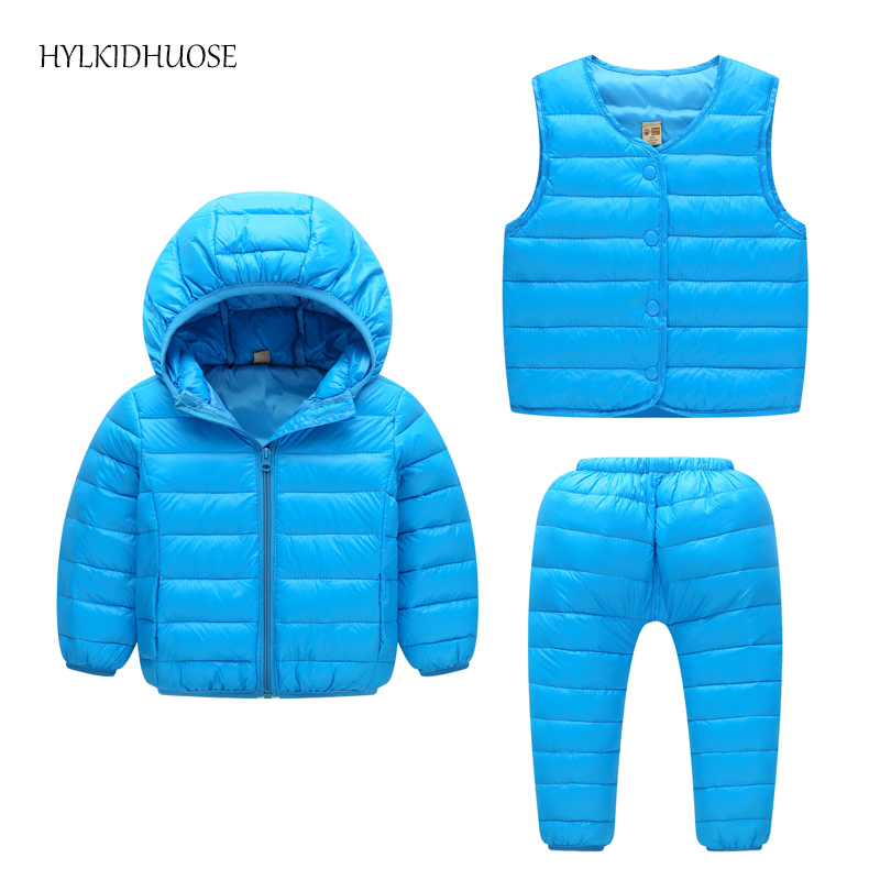 HYLKIDHUOSE 2017 Baby Girls Boys Clothes Sets Winter Infant/Newborn Warm Suits Down Hooded Coats+Vest+Pants Outdoor Kids Suits
