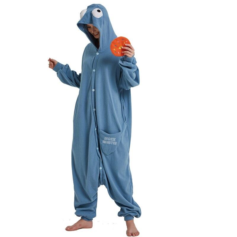 Cookie Monster Kigurumi Cartoon Onesie Jumpsuit Adult Sesame Street Pajamas For Women Sleepwear Pyjamas Cosplay Halloween Party (4)