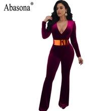 Abasona Women Velvet Jumpsuits Long Sleeve v Neck Women Overalls Elegant Ladies Wide Leg Pants Party Club Rompers Jumpsuit