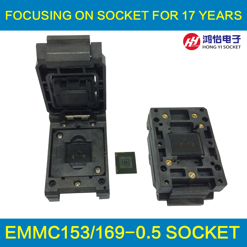 eMMC153/169 BGA153 BGA169 Burn in Socket Pin Pitch 0.5mm IC Body Size 12x18mm Test Socket Adapter fshh qfn32 to dip32 programmer adapter wson32 udfn32 mlf32 ic test socket size 3 2mmx13 2mm pin pitch 1 27mm