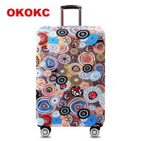 OKOKC Illustration Elastic Thicken Travel Suitcase Protective Luggage Cover Apply To 18 32 Case Suitcase Travel