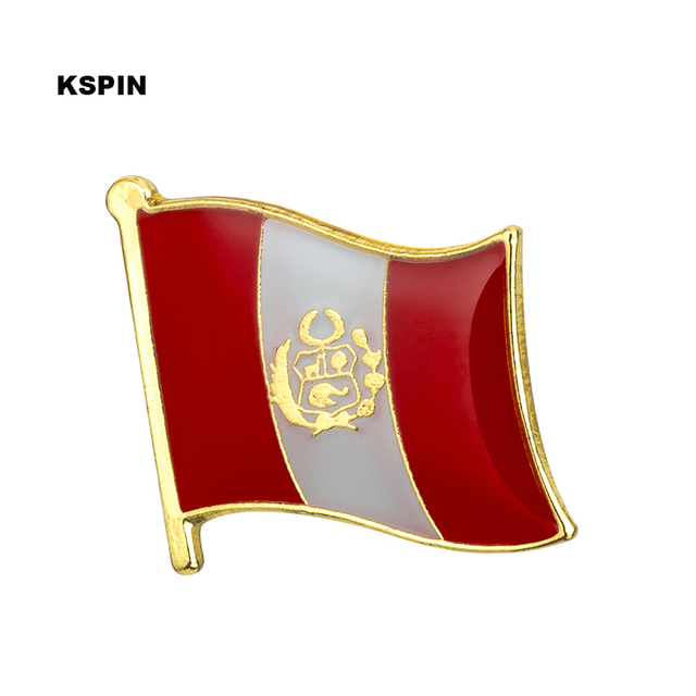 Peru New National Flag Badges Metal Pin For Clothes Rozet Makara Replica Coins by Akolion
