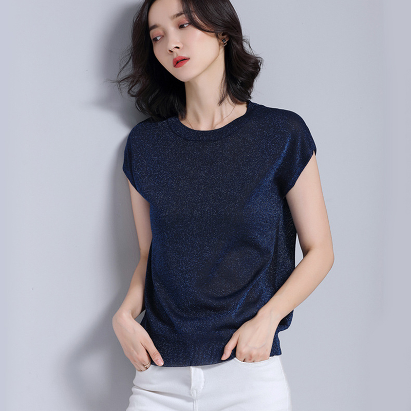 Women   Shirts   Loose Short Sleeve Knitting O-Neck Thin Silk   Blouse     Shirt   Light Blue Redan Powder A670