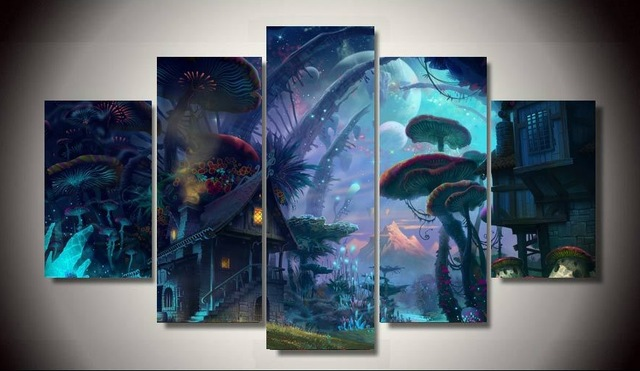 Printed Tiny World Fantasy Art 5 Pieces Unframed Canvas Oil Painting Wall Poster Picture For Home Decor In Calligraphy From