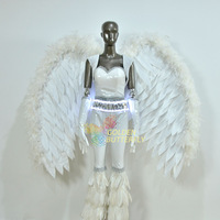 2019 White Elastic Leather Performing Clothing Stage Show Suit Electrically Stretching Feather Wings Angel Wings Feather