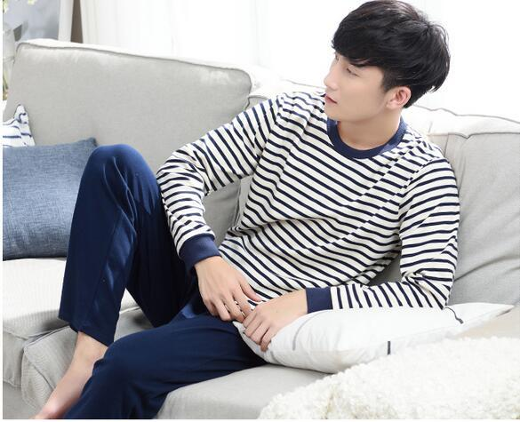 2016 autumn men pajama sets 100% cotton and male sleepwear long sleeve o neck pullover plaid lounge sleep set