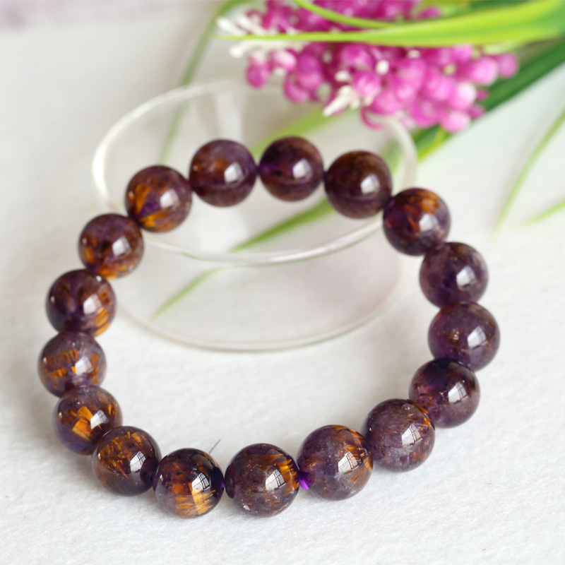Natural Genuine Gold Purple Titanium Cacoxenite Finish Stretch Men Bracelet Round Big Beads 12mm 04304 free shipping 12mm natural genuine cacoxenite purple gold rutilated quartz crystal round beads stretch bracelets for women