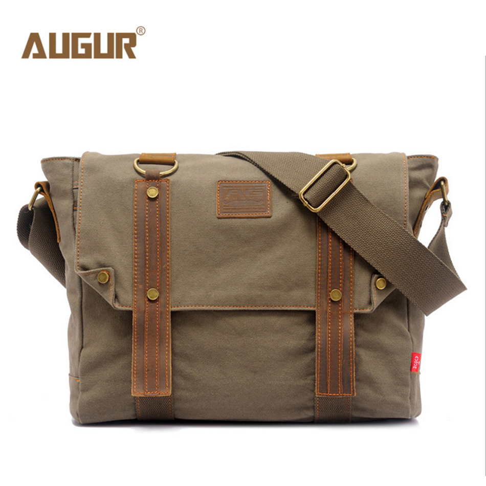 AUGUR Canvas Crossbody Bag Men Vintage Messenger Bag Large Capacity Business Shoulder Bag Travel Handbag augur large capacity men women crossbody bag for pad handbags canvas shoulder bag messenger bag