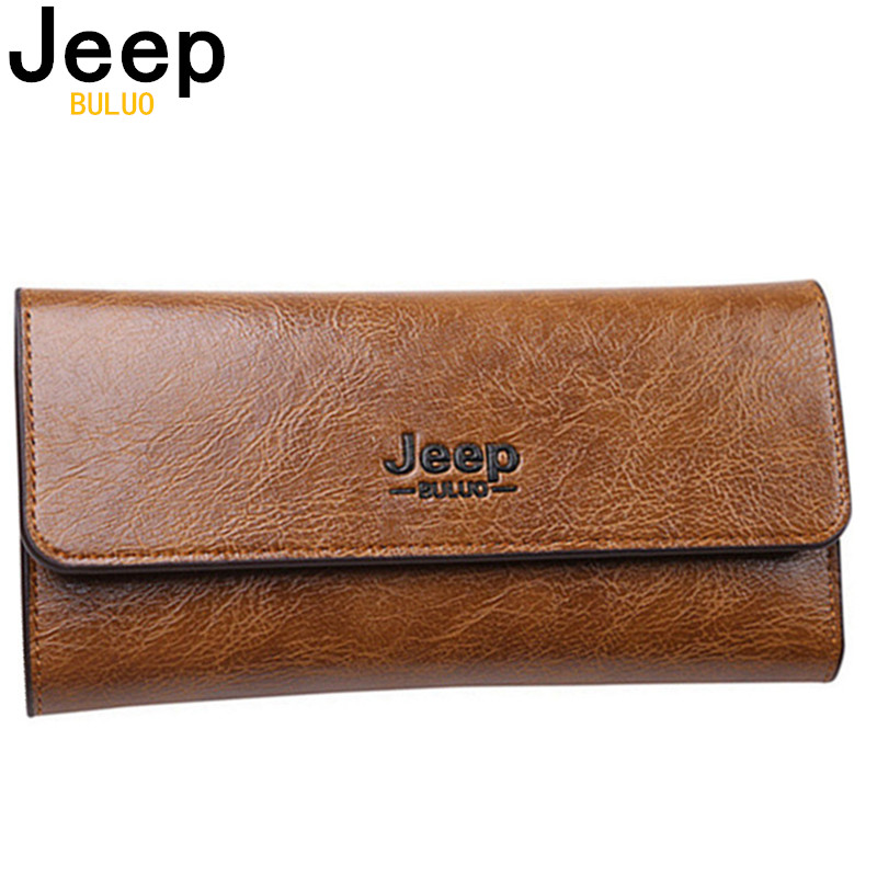 JEEP BULUO Famous Brand Man Wallet Leather Bifold Trifold Purse Men's Wallets Blocking Card Holder Clutch RFID Male Coin Wallets