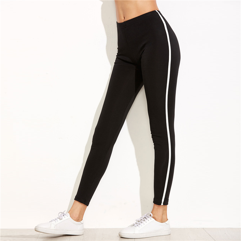 Romwe Sport Black Striped Side Women Stretchy Running Tights 2018 New Ladies  Slim Fit Sports Crop Active Jogging Wear Pants 0a0a73ed96a3