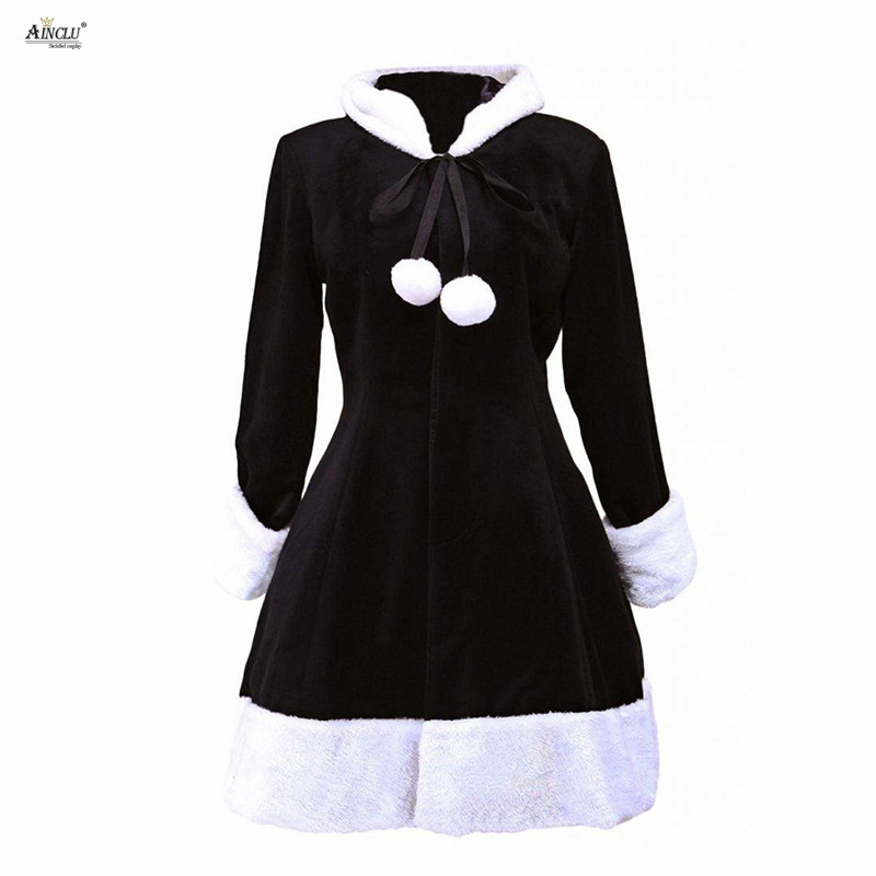 Spring/Summer/Autumn/Winter Middle-Long Dress Ainclu XS-XXL Womens Cute Black Hood Wool Women\'s Lolita Overcoat Casual/Party