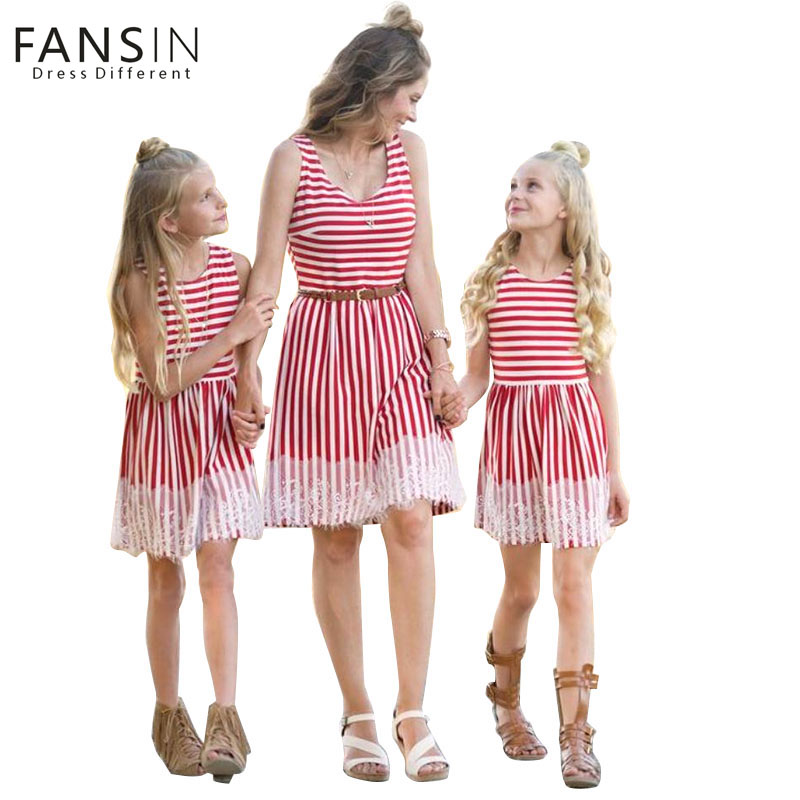 Fansin Brand Summer Mommy And Daughter Family Matching Dresses Red And White Striped Mom Girl Dress Lace Side kids Women Clothes