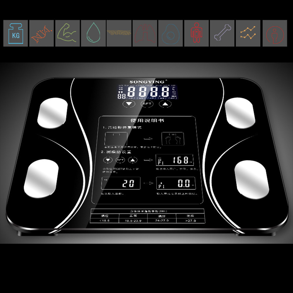 7 Parameters 400 Lb Smart Step-On Technology Calorie Digital Body Fat Scale Portable Universal Lightweight Touch Muscle 180KG