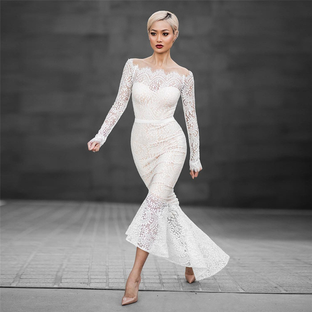 2016 Elegant Fashion White Lace Mermaid Dress Sexy Slash Neck Long Sleeve Off Shoulder Women Long Maxi Party Dress