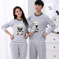 Primavera outono de algodão dos homens pijamas casais pijamas dos desenhos animados cat pijama homens pijamas conjuntos de pijama casal plus size 3xl salão