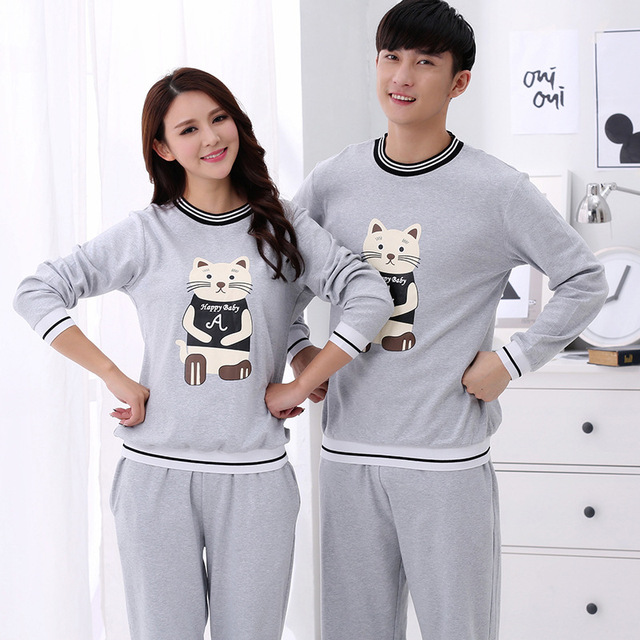 fd9fc6a997 Spring Autumn Cotton Men's Pajamas Couples Sleepwear Cartoon Cat Pyjamas  Men Sleepwear Couple Pajama Sets Plus