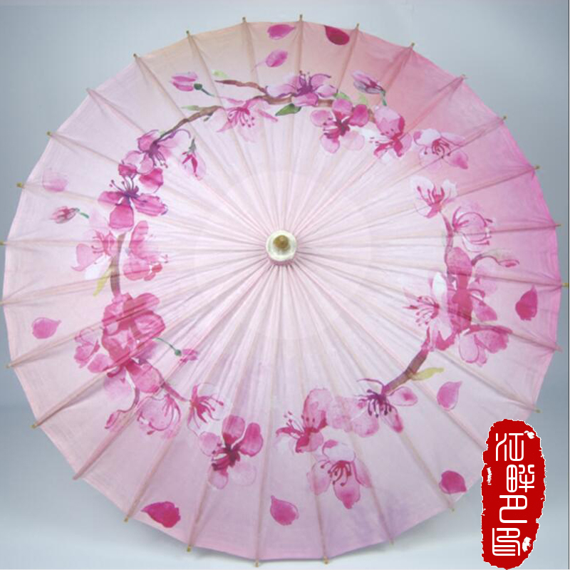 Warm Pink Color Flower Oil Paper Umbrella Peach Flower Round Circle Paper Parasol Kids Dance Wedding Decoration Paper Umbrella