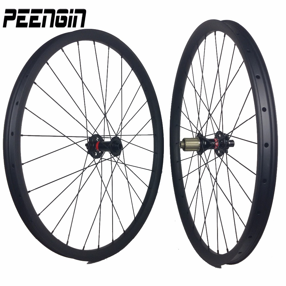 Carbon ruedas mtb 26 wheelset 35mm width mtb chinese-carbon-wheels clincher hookless tubeless rims compatible for All Mountain 27 5 mtb carbon fiber 650b mtb rim hookless width 35mm 32hole 650b mtb rims tubeless compatible