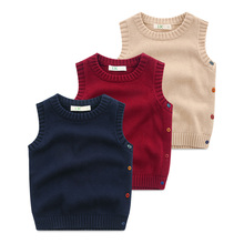 Children's knitted vest Baby boomers sweaters for pure color vest 2016 new wear autumn clothes The boy round collar coat