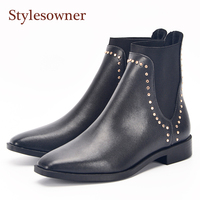 Stylesowner Black Leather Woman Ankle Boots Solid Color Slip On Ladies Rivets Studded Boots For Women Low Heel Chelsea Boots