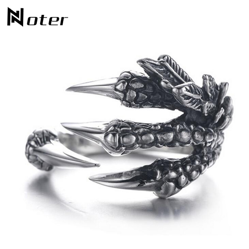 Noter Punk Antique Silver Dragon Claw Rings Gothic Stainless Steel Knuckles Ring For Women Men Personalized Jewelry Abel Bijoux