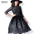 Elegant Evening Party Sequin Mesh Lace Women Embroidery Bodycon Tunic Ball Gown Knee Length Dress Winter Autumn