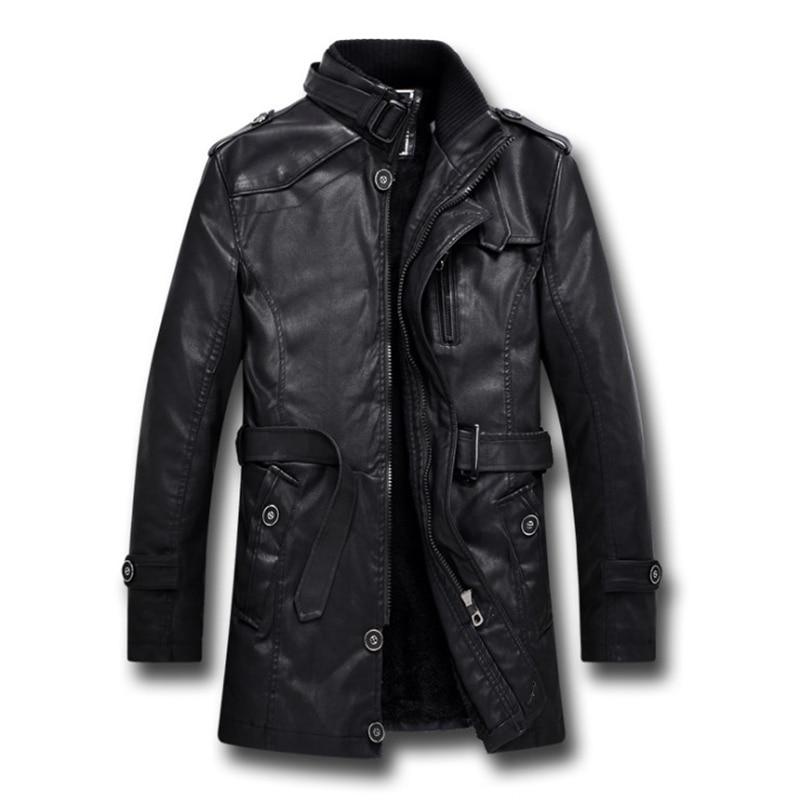New British Style Motorcycle Black Leather Jacket Men Mid Long Windbreaker Leather Jackets Male Coats L-4XL