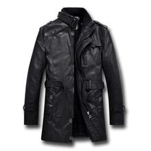 New British Style Motorcycle Black Leather Jacket Men Mid Long Windbreaker Leath