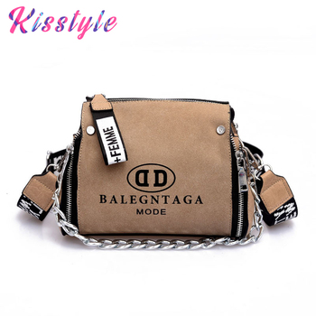3e1309397e Kisstyle de mujer de cuero de gamuza bolso Vintage mujer único bolso  mensajero bolsa de cadena de moda diseño bandolera bolsas 2019