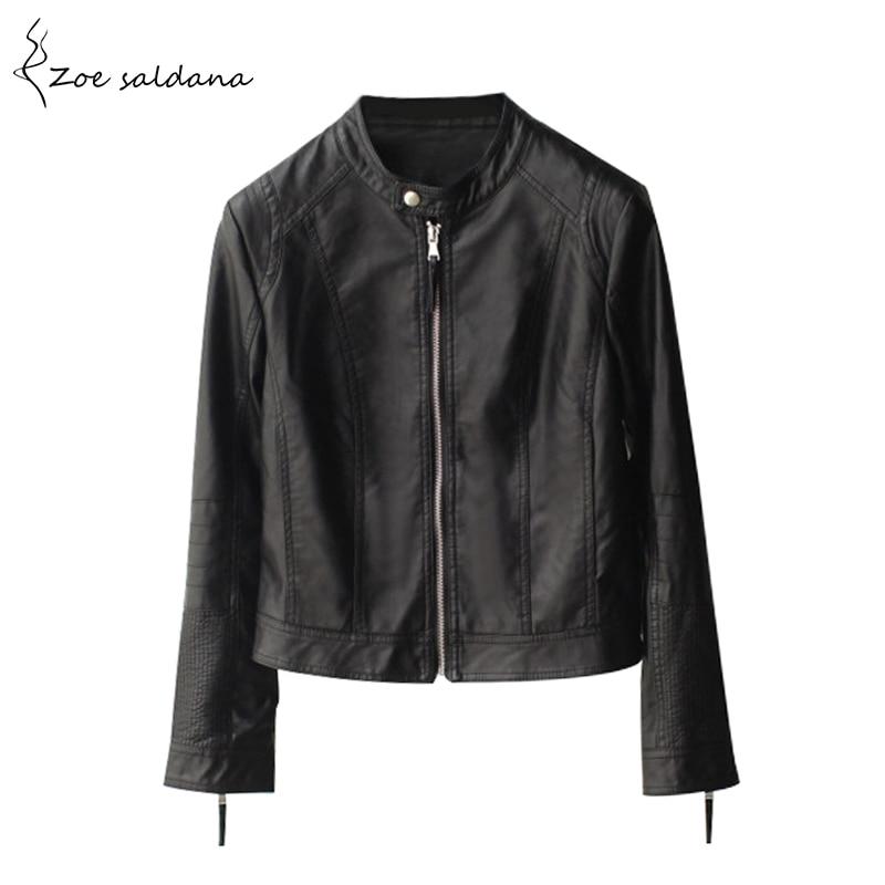 Zoe Saldana 2018 De Mode de Femmes Slim Style Court Moto Veste En Cuir Automne Hiver Femmes Noir O-cou En Cuir PU Manteau