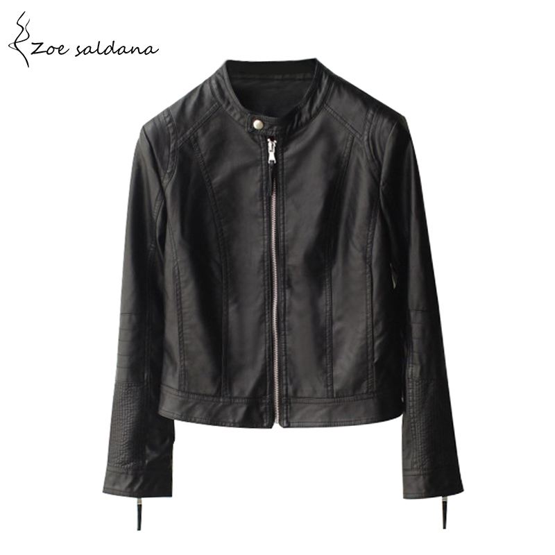 Zoe Saldana 2018 Fashion Women's Slim Short Style Motorcycle Leather Jacket Autumn Winter Women Black O-neck PU Leather Coat