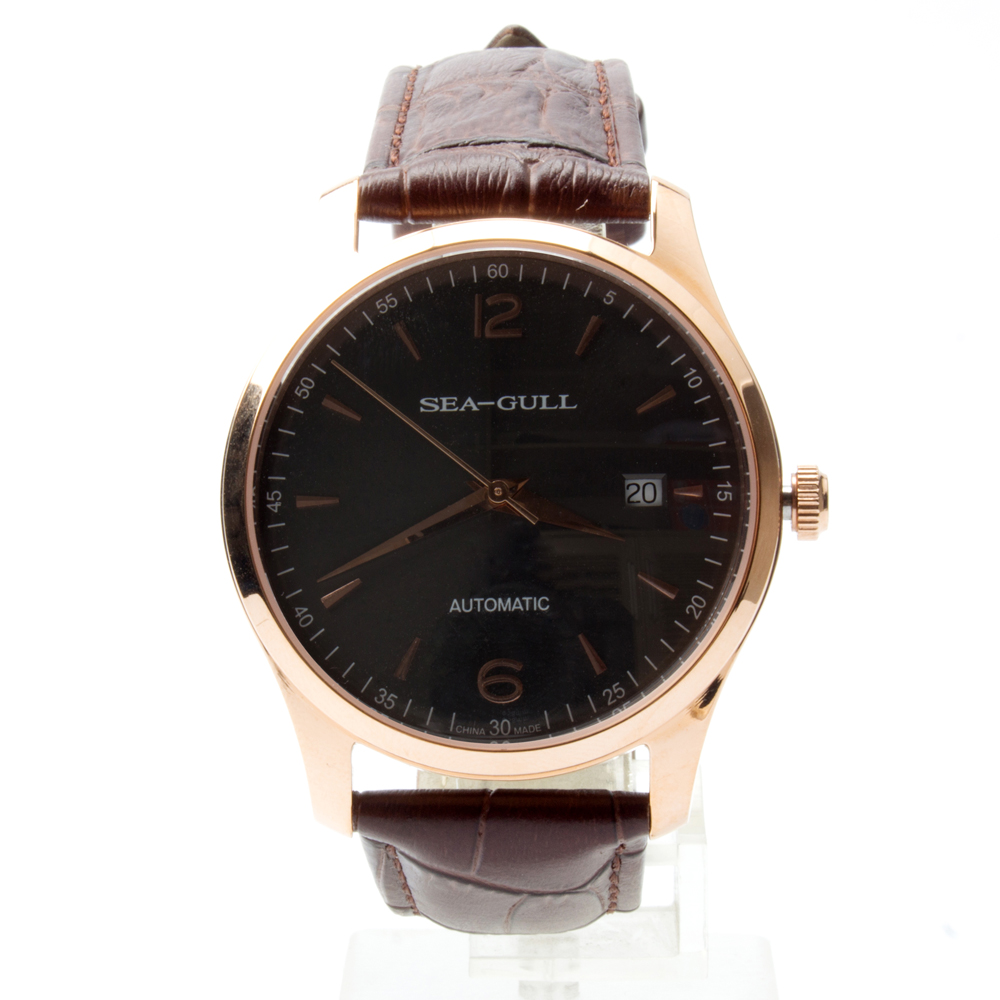 Seagull Genuine Leather Band Gold Tone Black Dial Exhibition Back Automatic Men's Watch Sea-gull D519.438