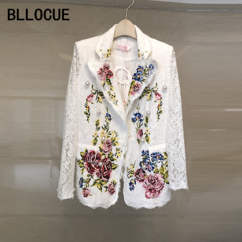 BLLOCUE High quality Luxury Designer Runway Jackets Coats 2018 Summer Women s Fashion Flowers Embroidery Jacket