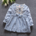 Girls dress girls 2016 spring new color of cotton lace round neck long-sleeved dress