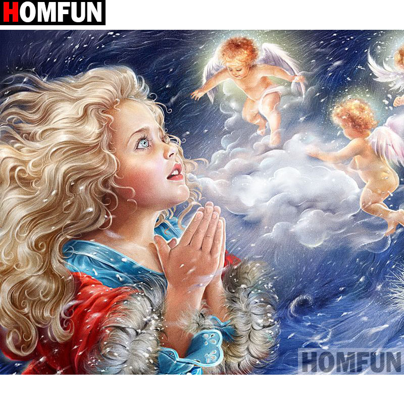 Angel Girl Diamond Paiting 5D DIY Full Drill Cross Stitch Kits Embroidery Decors