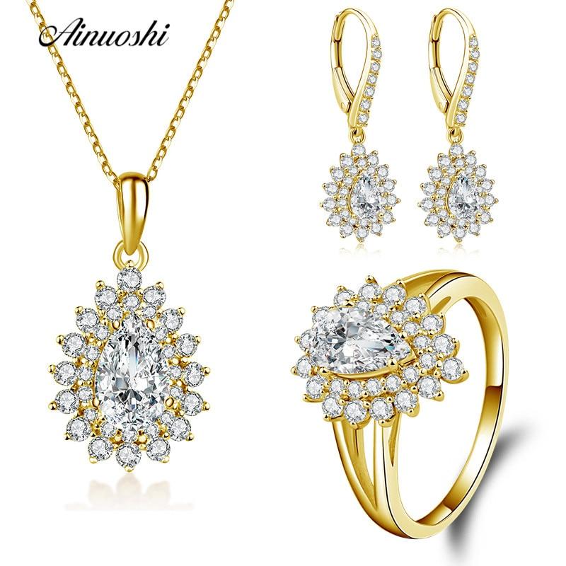 AINUOSHI 10K Solid Yellow Gold Jewelry Set Pear Cut Teardrop Pendant Halo Ring Drop Earring Fine Wedding Women Jewelry Set Gift