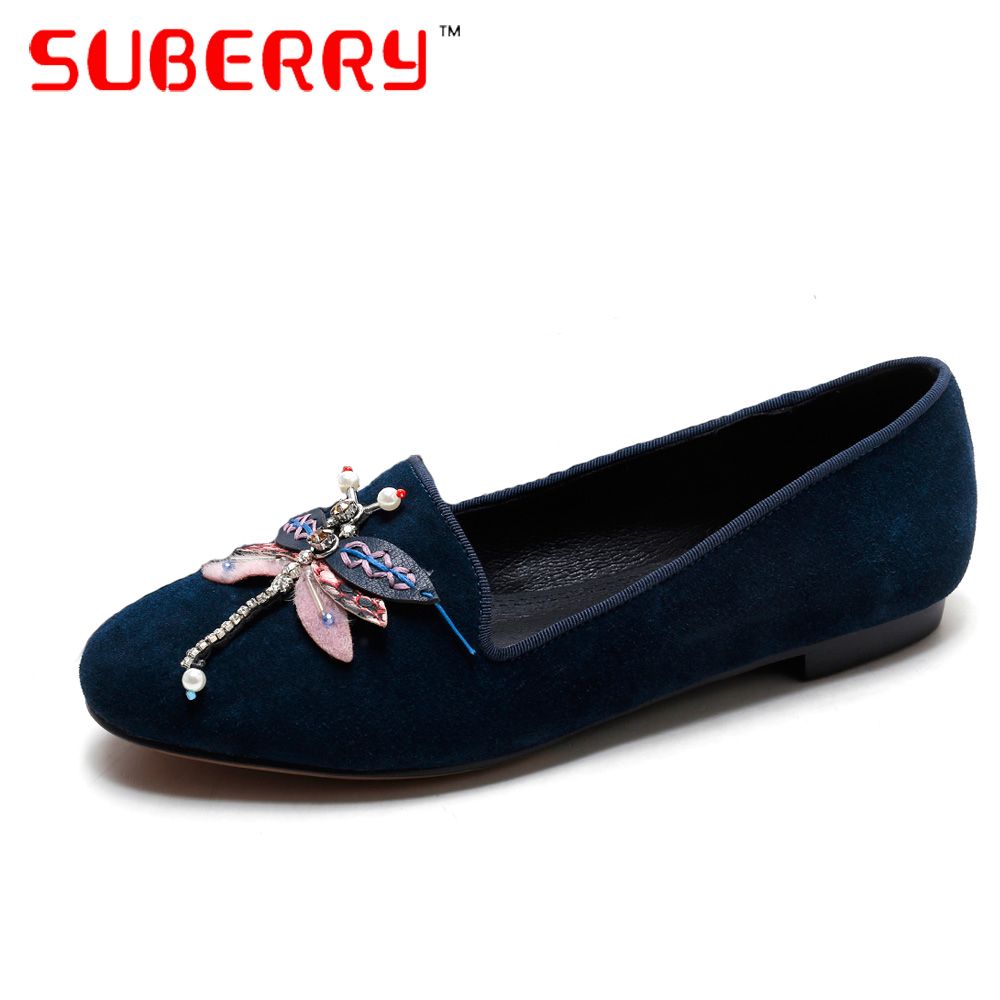ФОТО SUBERRY 2017 Sheepskin Suede Round Toe Slip-On Casual Shoes Four Seasons Loafers Handmade Embroidery Beaded Shoes Shallow Flats