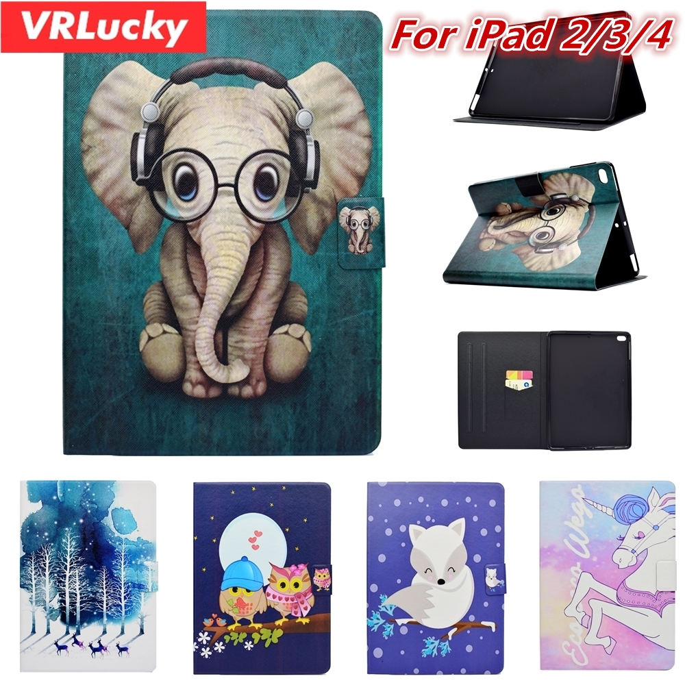VRLucky Fashion Cute Unicorn Elephant Owl Patterns Flip Cover and Stand PU Leather Case For Apple iPad 2/3/4 ...