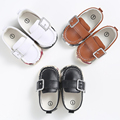 Hansome Baby Boy Leather Shoes Handmade Soft Bottom Non-Slip Newborn Toddler Buckle Shoes First Walkers 3 Colors Baby Moccasin