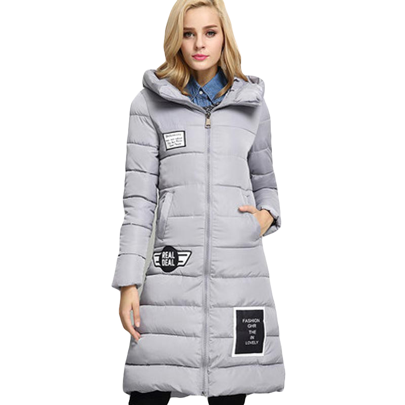 new women winter Letter print jacket thickening warm hooded cotton coat loose Plus size ladies long   parka   overcoat FP1206