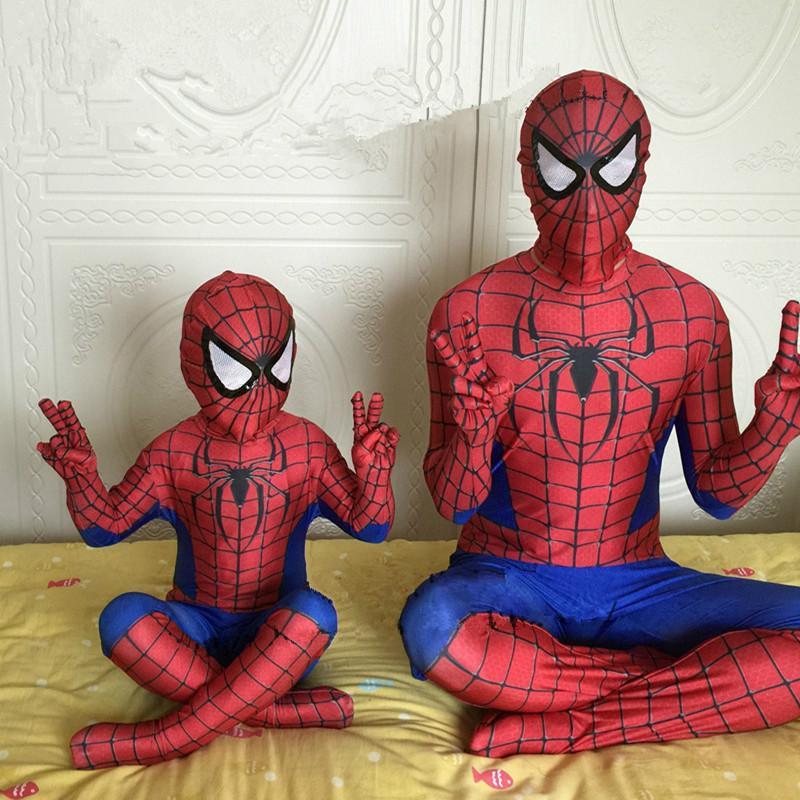 Kids Adult Spiderman Costume Halloween Cosplay Boys Men's Spider Superhero Suit Lycra Jumpsuits Zentai Bodysuit Mask