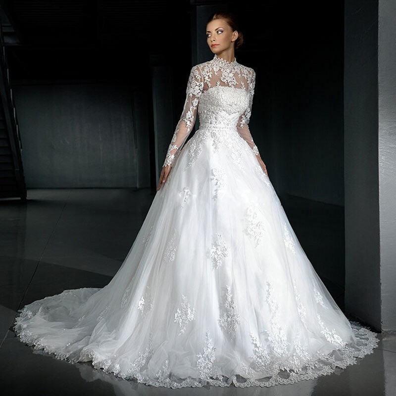 A Line High Neck Long Sleeve Modest Wedding Dresses Turkey 2017 ...