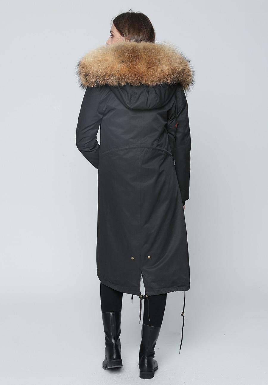 2019 Real Fur Coat Winter Jacket Women Long Parka Waterproof Big Natural Raccoon Fur Collar Hood Thick Warm Real Fox Fur Liner 75