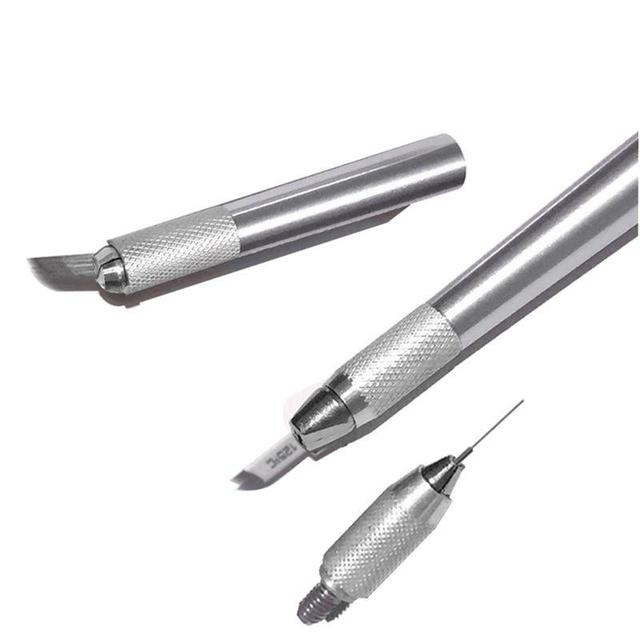 3 In 1 3D Eyebrow Tattoo Pen Machine Professional Tebori Microblading Pen Eyebrow Permanent Makeup Machine Silver Manual 4